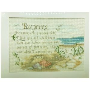 Other - Cross Stitch Foot Prints Hand Embroidered Framed